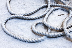 Frozen ship cable Royalty Free Stock Image