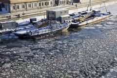 Frozen ship on Moscow River Royalty Free Stock Photos