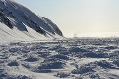 Frozen shore of the Arctic Ocean. Royalty Free Stock Images