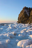 Frozen shore of the East Sea before sunset. Stock Images