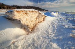 Frozen Shoreline of Lake Michigan Stock Photography