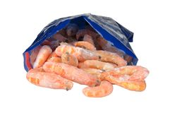 Frozen shrimp in package Royalty Free Stock Images