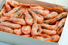 Frozen shrimp packaged. For sale in the store Stock Photo