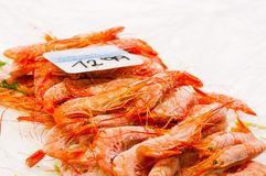 Frozen shrimps at market stall. Frozen shrimps closeup at market stall royalty free stock photography