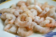 Frozen shrimps ready to be thawed out Royalty Free Stock Image