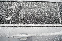 .Frozen side window of  car Royalty Free Stock Photography