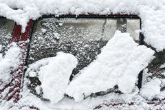 Frozen side window of car Royalty Free Stock Photos