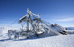 Frozen ski lift Stock Image