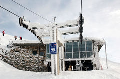 Frozen ski lift station. Frozen pillar of ski lift and station Stock Photography