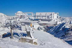 Frozen ski lift in the Stubai Alps Stock Photography