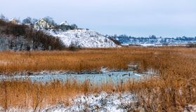 Frozen small lake in suburb of Pskov town Royalty Free Stock Photos