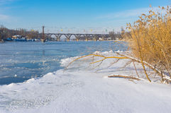 Frozen and snow covered river Dnepr Royalty Free Stock Image
