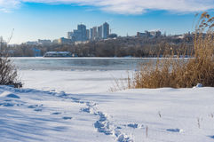 Frozen and snow covered river Dnepr Stock Photo