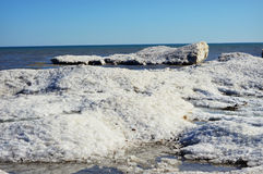 Frozen Snow Covered Waves Stock Photos