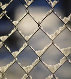 Frozen snow on a fence Royalty Free Stock Photography