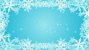 Frozen Snowflake frame animation -Blue stock video footage