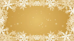 Frozen Snowflake frame animation -golden color stock footage