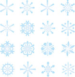Frozen snowflakes. 16 different ice blue snowflakes Royalty Free Stock Photo