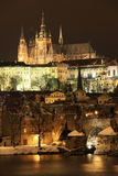 Frozen Snowy Prague gothic Castle Stock Photo