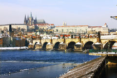Frozen Snowy Prague gothic Castle Royalty Free Stock Photography