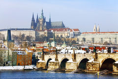 Frozen Snowy Prague gothic Castle Stock Photos