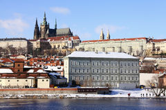 Frozen Snowy Prague gothic Castle Royalty Free Stock Images