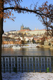 Frozen Snowy Prague gothic Castle Stock Images