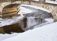 Frozen snowy river under a stone bridge. Winter. River under the stone arch of the old bridge Royalty Free Stock Images