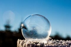 Frozen soap bubble Stock Image