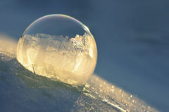 Frozen soap bubble. Cold winter liquid ball experiment. Freezing water with icy patter texture Royalty Free Stock Photography