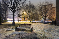 Frozen solitary bench Stock Photos