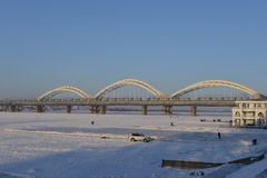 The frozen Songhua river in winter. The surface of Songhua river along Harbin was frozen in winter Stock Photography