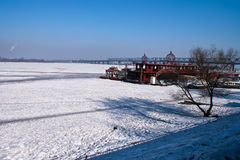 The frozen songhuajiang river Stock Photo