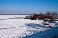 The frozen songhuajiang river. In harbin Stock Photo