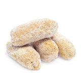 Frozen spanish croquettes. Some frozen spanish croquettes on a white background Royalty Free Stock Photo