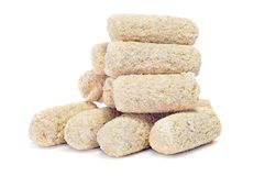 Frozen spanish croquettes. Some frozen spanish croquettes on a white background Stock Photos