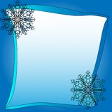 Frozen square frame with blue snowflakes vector illustration Royalty Free Stock Photo
