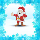 Frozen square frame with snowflakes and Santa Claus vector Stock Image