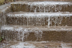 Frozen stairs. Ice on the stairs at winter Royalty Free Stock Photos