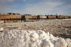 Frozen Stockholm Harbor Stock Photo