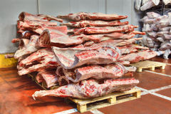 Frozen stocks of red meat in a cold warehouse Royalty Free Stock Image