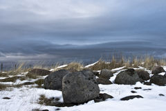 Frozen Stones. Stony field on the shore of Barents Sea in Kola Peninsula (Russia) in late Autumn Royalty Free Stock Photography