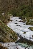 Frozen Stony Creek. Located below the Cascade Falls, Jefferson National Forest, Giles County, Virginia, USA Stock Photography