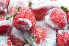 Frozen strawberries with green leaves closeup. Detailed cold fruit image. soft focus Stock Image