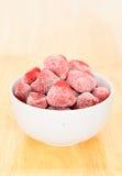 Frozen strawberry bowl Stock Photos