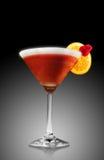 Frozen strawberry cocktail. With orange decoration, black background Stock Photo
