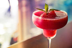 Frozen Strawberry Daiquiri with shallow focus. Ingredients Royalty Free Stock Photos