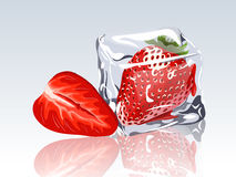 Frozen strawberry in ice cube Royalty Free Stock Photos