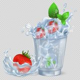 Frozen Strawberry and Mint in Glass with Water Stock Photo