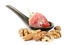 Frozen Strawberry on a Spoon Stock Photography